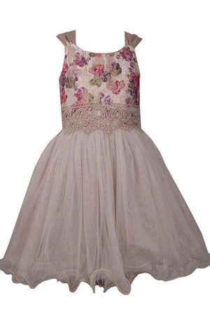 Bonnie Jean Sleeveless Ivory Dress with Pink Floral Bodice and Cascading Chiffon Skirt