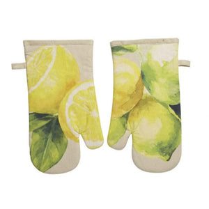 Summer Lemon Slice Yellow Print Kitchen Oven Hot Mitt Set of 2
