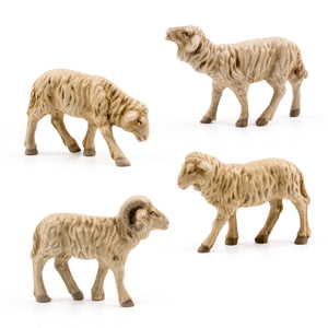 "Marolin Paper Mache White Flock of Sheep 3.5-4"" Figure Mini Nativity Set of 4"
