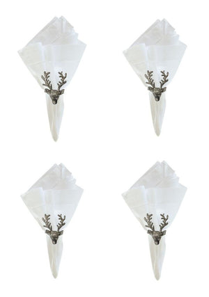 C F Stag Deer Reindeer Metal Christmas Napkin Rings, Set of 4