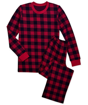Sara's Prints Red Black Buffalo Check Wms Mens Christmas Winter Pajamas 2 Pc Set