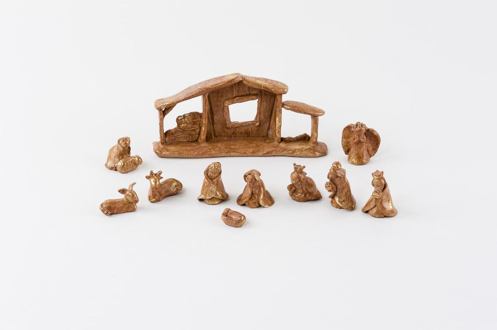 180 Degrees 11 Pc Resin Nativity Christmas Set with Brown Pottery Finish Display