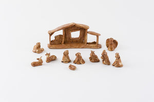 "180 Degrees 11 Pc Resin Mini Nativity Christmas Set with Brown Pottery Finish Display, 2"" Tall"