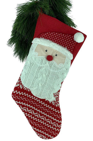 Red Knit Fair Isle Santa Claus Applique Christmas Stocking
