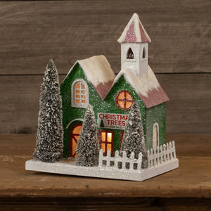 "Ragon House ""Trees for Sale"" Lighted 12"" Green Christmas Village House"