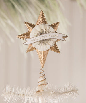 "Bethany Lowe Wish Upon A Star White and Gold 7"" Christmas Tree Topper"