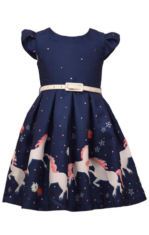 Bonnie Jean Girls Unicorn Magic Print Navy Blue Skirt with Belt