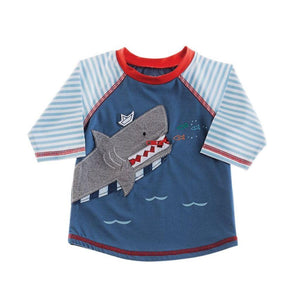 Mud Pie Kids Boys Pirate Treasures Shark Rash Guard Swim Top