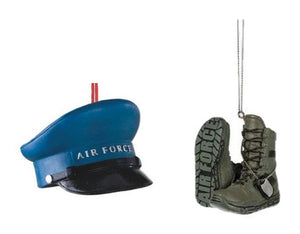 Mid West USAF Military Air Force Hat and Boots Christmas Ornament