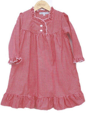 Red and White Gingham Girls Christmas Nightgown Lightweight Fabric