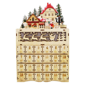 Mid West Wood Lighted LED Advent Calendar Santa Christmas Eve