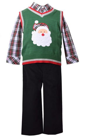 Bonnie Jean 3 Piece Sweater Vest and Pants Christmas Set with Santa Applique