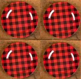 "Ragon House 12"" Red Black Buffalo Check Charger Under Plate Set of 4"