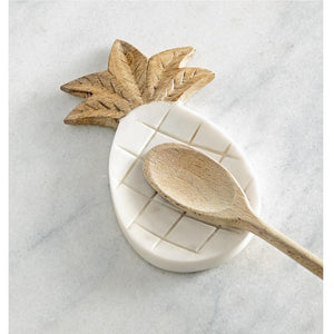 Mud Pie Home Welcome Pineapple Shaped Marble and Wood Spoon Rest