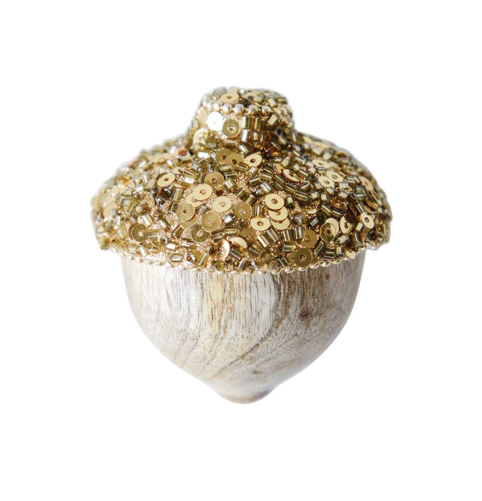 "Creative Co-op 3"" White Washed Wood Acorn Figures with Gold Sequins Bead Hull-Set of 2"