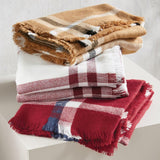 Mud Pie Womens Plaid Blanket Acrylic Womens Winter Scarf with Fringe Edge
