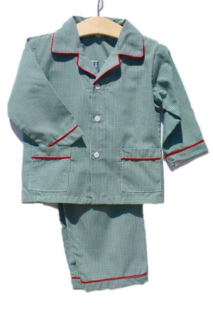 Green Gingham Checked Christmas Boys Holiday Pajamas