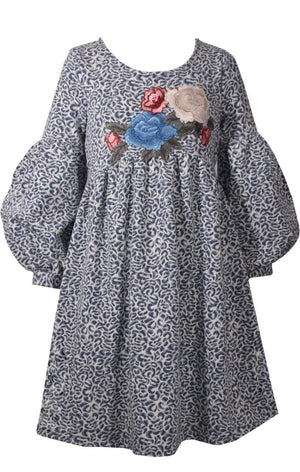 Bonnie Jean Blue and White Jacquard Baby Doll Dress with Puffy Sleeves and Floral Embroidery