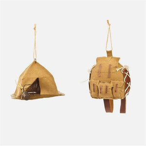 180 Degrees Hiking Camping Outdoors Backpack and Tent Christmas Ornament Set of 2