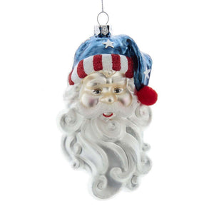 "Kurt Adler Santa Head USA American Patriotic Hat 5.5"" Christmas Ornament"