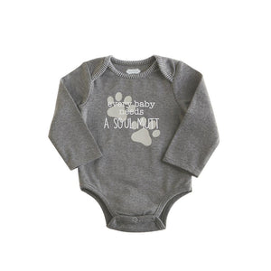 """Baby Needs Soul Mutt"" Dog Print Baby Bodysuit Top"