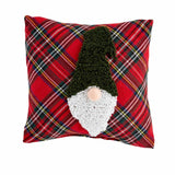 "Red Stewart Tartan Plaid Christmas Gnome 8"" Accent Pillow"