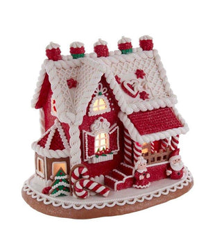 "9"" Lighted Red Santa and Mrs Claus Gingerbread Christmas Village House"