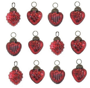 Mercury Textured Colored Glass Heart Ornaments Set, Red Color