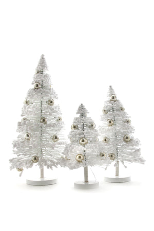 "Cody Foster White Silver Balls Snow Forest 8.5-13.25"" H Christmas Tree Set of 3"