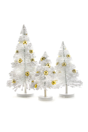 "Cody Foster White Gold Balls Snow Forest 8.5-13.25"" H Christmas Tree Set of 3"
