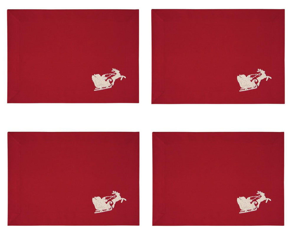 C F Red Santa's Sleigh Christmas Holiday Rectangle Placemats, Set of 4