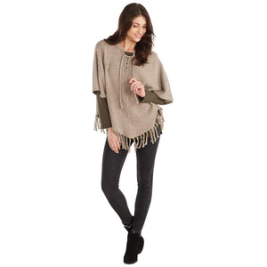 Mud Pie Womens Pixie Speckled Knit Fringed Poncho, Tan Color