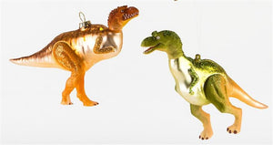 180 Degrees Dino Dinosaur Orange Glass Christmas Ornament Set of 2