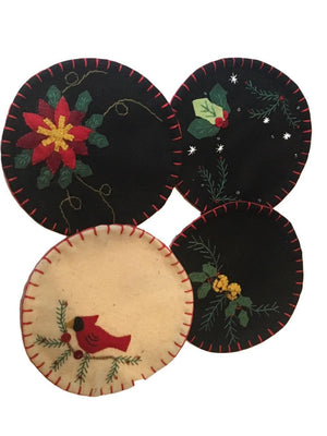 KIG Exclusives Drink Coasters with Cardinal, Bells, Poinsettia, and Holly on Black Background