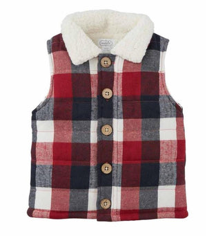 Mud Pie Kids Alpine Village Tri-Color Buffalo Check Vest with Sherpa Fleece
