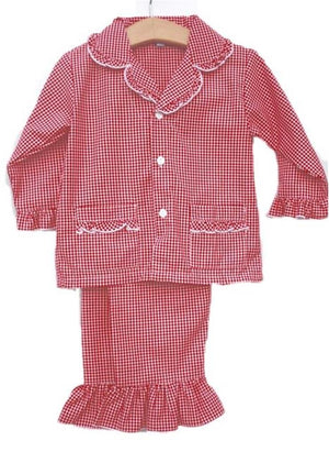 Red and White Gingham Girls 2 Pc Christmas Pajamas Lightweight Fabric