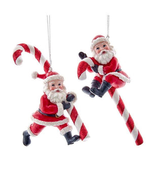 "6"" Santa Claus on a Candy Cane Christmas Ornament Set of 2"