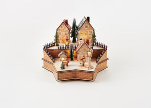 180 Degrees  Star of David Shaped Christmas Lighted Alpine Winter Village Scene