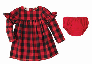 Mud Pie Kids Buffalo Check Ruffled Sleeve Dress