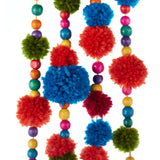 "Kurt Adler 52"" Fiesta Mexicana Multi-Color Pom Pom Bead Christmas Garland"