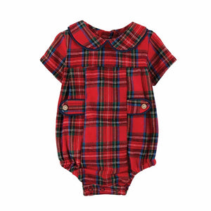 Mud Pie Kids Tartan Christmas Plaid Bubble Set with Peter Pan Collar