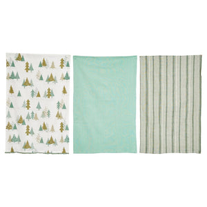 Christmas Tree Print Aqua Blue Gray Stripe Kitchen Towel Set of 3