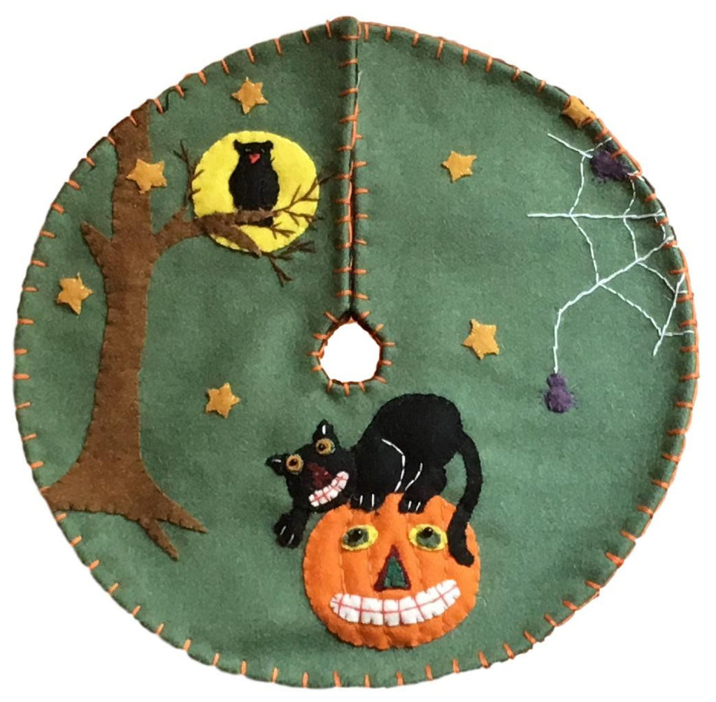 "Handmade 24"" Felt Applique Cat Jack-O Halloween Tree Skirt Small Tabletop Size"