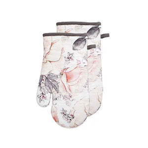 Pink Magnolia Floral Summer Print Black White Kitchen Oven Hot Mitt Set of 2