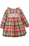 Bonnie Jean Long Sleeve Harvest Fall Buffalo Check Pumpkin Smocked Dress