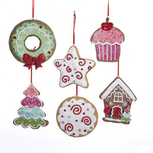 Kurt Adler Gingerbread Christmas Cookie Tree Polymer Ornaments, Set of 6