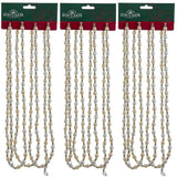 Kurt Adler Ivory and Gold (3) Chrismas Tree Beaded Garland, 9' Lengths