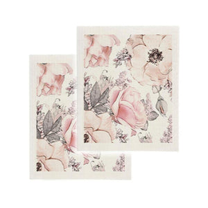 Cotton Sponge Cloth Kitchen Clean Up Reusable Summer Magnolia Print Set of 2