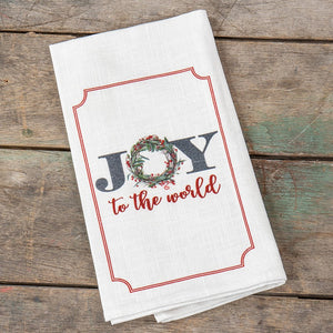 Ragon House Joy to the World Wreath Kitchen Christmas Towel