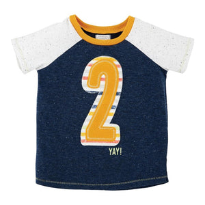 Boys 2nd Birthday Top Tee Shirt Navy Blue 2 On Front